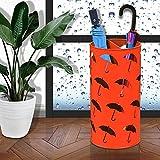 WSSF- Stehender Eisen-Kunst-Regenschirm-Stand-Hotel-Lobby-Büro-Regenschirm-Eimer-Multifunktionshochhaus-langer Innen- / kurzer Regenschirm-Speicher-Halter-Zahnstange rund, 25 * 50cm ( Farbe : Orange )