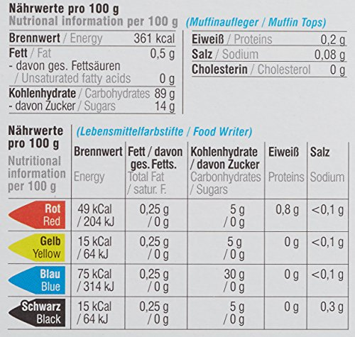 Dekoback Essbares Muffinset 16-teilige mit Lebensmittelfarbstiften, 1er Pack (1 x 38 g)