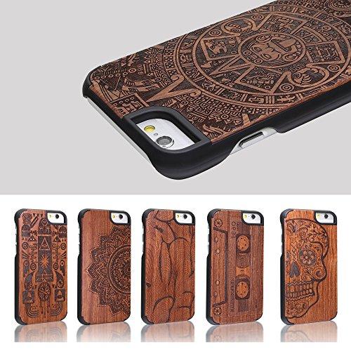 COOLWILL® Caso sottile telefono autentico legno di bambù e dura del PC con Sculture in natura creativa calotta di protezione per iPhone 7 iPhone 6 6s, 4.7 polliciV (Faraone)