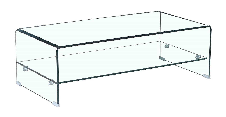 Table De Salon Verre.Meubletmoi Table Basse En Verre Trempe Avec Etagere Vitree Rectangulaire Design Salon Moderne Ice Deco Royale