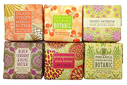 Greenwich Bay TROPICAL FRUIT Soap Sampler Gift Set, Mini Shea Butter Soap Set Scents - Ginger Mango, Peach, Lemon Verbena, Black Currant, Pomegranate and Pineapple (6 x 1.9 oz) by Greenwich Bay Trading Company