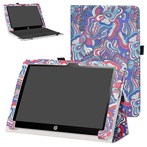 Mama Mouth Schutzhülle mit Standfunktion für HP X2 10 10-p010nr 10-p020nr 10-p092ms Tablet (PU-Leder, Nur für HP X2 10-p000nr Serie, Nicht für HP Pavilion x2 10 10-n000nr Serie), Mushroom Fantasy