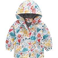 H.eternal(TM) Vêtements d'extérieur coupe-vent à capuche pour bébé de 2 à 8 ans avec fermeture éclair et motif papillon