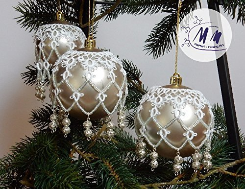 Tatting, Occhi, Kugel Tattoo, Weihnachtskugel Dekoration, Weihnachten. Weihnachtsschmuck, Weihnachtsbaum, Christbaumschmuck (Weihnachtsbaum-kugel Dekorationen)