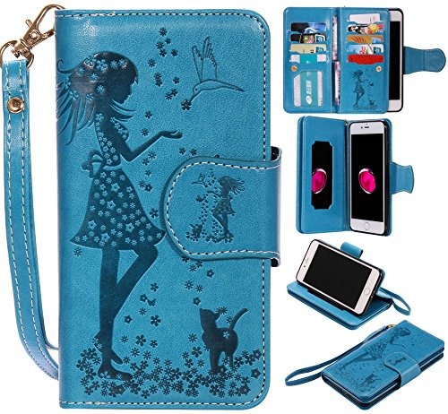 Ooboom® iPhone 5SE Coque Gaufrer Motif Fille PU Cuir Flip Housse Étui Cover Case Wallet Portefeuille Supporter Pochette pour iPhone 5SE - Rouge Bleu