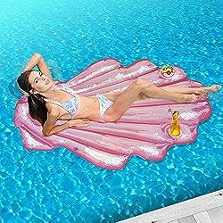 """Piscina Cáscara flotante Hinchable, Flash Sequins de la Deriva, juguete inflable para la piscina al aire libre grande, verano riegan el salón de la balsa para los adultos y los niños, 62"""" x 40"""""""