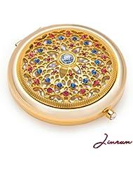 Jinvun Luxus Taschenspiegel – Einzigartiges Geschenk für Frauen | 24K Gold Kompaktspiegel – Rosa Make-Up Spiegel | Runder Klappspiegel – Vintage Schminkspiegel mit Schmuck Diamant (luxury)