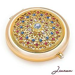 Jinvun Luxus Taschenspiegel - Einzigartiges Geschenk für Frauen   24K Gold Kompaktspiegel - Rosa Make-Up Spiegel   Runder Klappspiegel - Vintage Schminkspiegel mit Schmuck Diamant