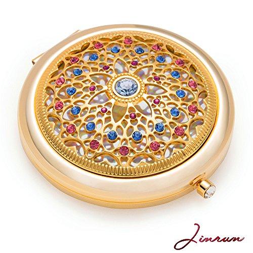Jinvun Espejo de Aumento Galvanizado en Oro de 24 Quilates: Lujoso Espejo Para Maquillaje con Diamantes...