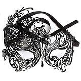 Black Sexy Swan masque en métal pour les femmes Filigree Laser Cut Venetian Masquerade strass