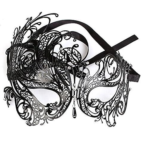 Black Sexy Swan Metal Mask for Women Filigree Laser Cut