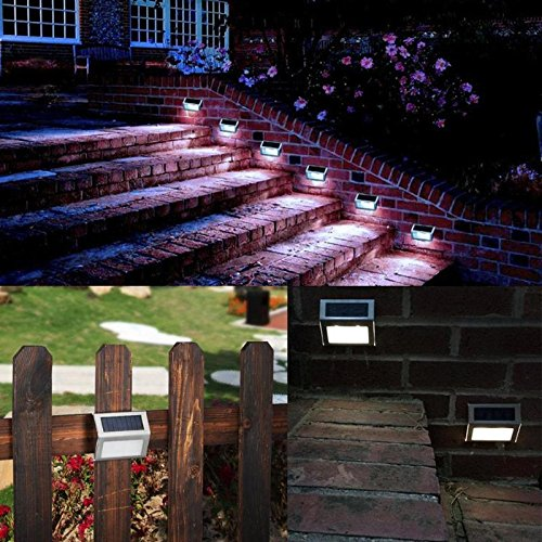 Wasserdichte 3 LED Solarleuchten Garten Pathway Treppen Lampe Edelstahl LED-Leuchten Solar Panel Wandleuchte Treppenbeleuchtung ()