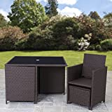 Rattan Cube Garden Furniture Set 8 seater outdoor wicker 9pcs (Brown)