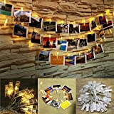 FFNW USB Powered LED Photo Clip String Lights 16.4 Feet 40leds Photo Clips String Lights for Decor Artwork, Wall Hanging Pictures, Photos, Bedroom, Party (Warm White)
