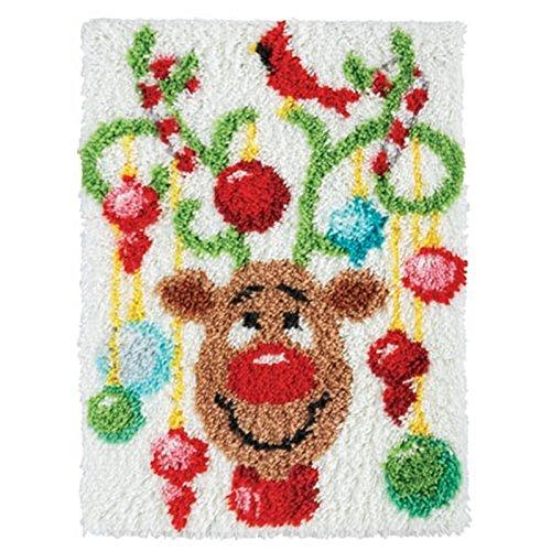 Beyond Your Thoughts Weihnachten Knüpfteppich für Kinder und Erwachsene zum Selber Knüpfen Teppich Latch Hook Kit Child Rug Christmas 373 52 * 38 cm