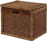 Hoher Korb mit Deckel Rattan Geflochten Farbe Vintage Braun, Regalkorb, Aufbewahrungsbox