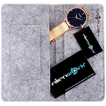 Alienwork-Armbanduhr-Damen-Uhr-Edelstahl-Milanaise-Armband-Mesh-Metallband-Analog-Quarz-Damenuhr-Mdchen-Wasserdicht-echtes-Marmor-Zifferblatt-Glitzer-Strass