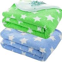 BRANDONN New Born All Season Ultrasoft Baby Blanket for Babies (Green/Blue) Pack of 2
