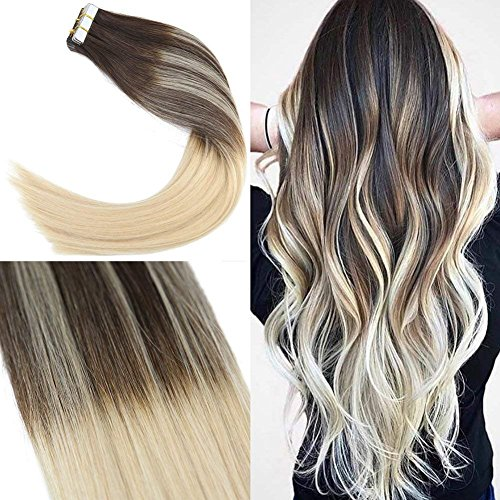 Sunny balayage extension biadesivo capelli 14 pollice/35cm lisci remy marrone con bionda tape in extensions human hair 20pcs/50g
