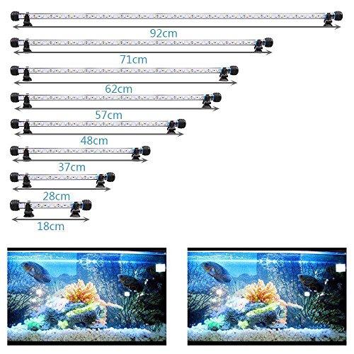 SolarNovo 18-92cm LED Aquarium-Licht Unterwasser BeleuchtungAufsatzleuchte IP68 Abdeckung Wasserdicht LED Lampe Stecker EU für Fisch Tank mit Fernbedienung RGB Farbwechsel (1.8 * 71cm, Weiß & Blau) (Aquarium 60 Led-licht)