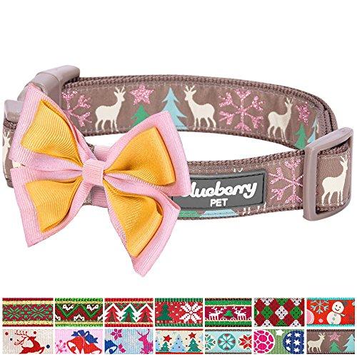 Mit Designs Snuggies (Blueberry Pet Weihnachtszeit Halsbänder 1,5cm S Momente des Friedens Fröhliche Rentiere Designer Hundehalsband mit Abnehmbarer Fliege)