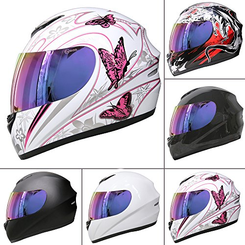 Leopard LEO-819 Full Face MotorradHelm Integralhelme Straße Legal + Extra Iridium Visier - #5 Rosa Schmetterling XL (61-62cm)