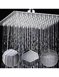 Bluelover 8 pulgadas de acero inoxidable bano plata cuadrado presurizar ducha de lluvia cabeza cromado