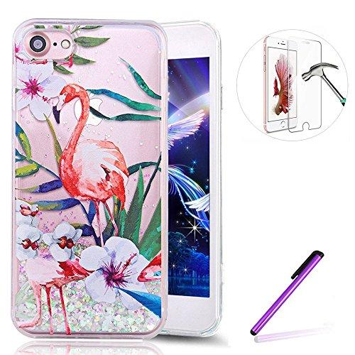 iPhone SE Hülle Glitzer Silikon Bumper Mirror Case für iPhone 5S,iPhone SE Hülle Flower,Schutzhülle für iPhone SE 5 5S Hülle Silicone Case,EMAXELERS iPhone 5S Hülle für Mädchen,iPhone SE Hülle Glitter H Flamingo 9