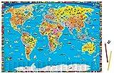 Illustrierte politische Weltkarte - Schreibtischunterlage: Hochwertiges Material, schadstofffrei!