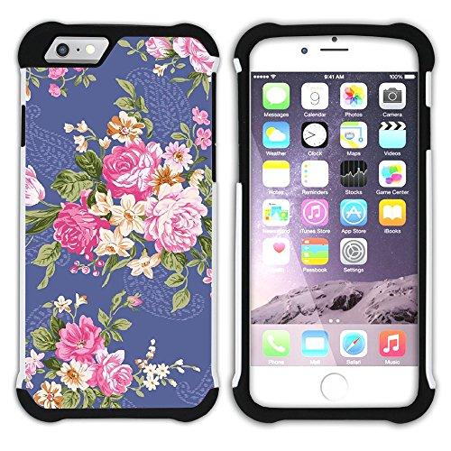 Graphic4You Blume Blumen- Muster (Schwarz) Hart + Weiche Kratzfeste Hülle Case Schale Tasche Schutzhülle für Apple iPhone 6 Plus / 6S Plus Design #1