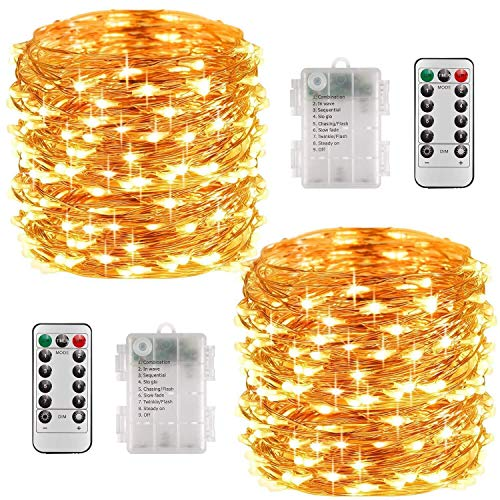 Fairy Lights Battery Operated, 10M 100 LEDs 8 Modes Copper Wire String Lights with Remote Control and Timer, Waterproof Firefly Lights for Garden Bedroom Wedding Decoration, Warm White (2 Pack)