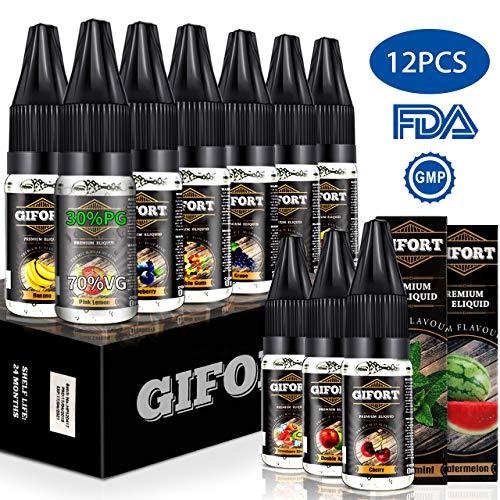 Gifort 12×10 ml E Liquids, E-Zigaretten Liquid Set 70VG/30PG, E-Juice Nikotinfrei,E Zigarette Liquids E Zigaretten Starter Set, ohne Nikotin