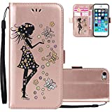 """iPhone SE Wallet Cover, Aeeque® Luxury Rose Gold Girl Butterfly Flowers Design and Premium PU Leather Flip Stand Magnetic Closure Phone Case for iPhone 5S SE 5 4.0"""" with Hand Strap"""