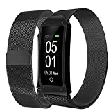 Bluetooth Smart Watch, elecfan IP67 Wasserdicht Fitness Trackers Farbdisplay Fitness Armband Intelligente Uhr mit Pulsmesser, Herzfrequenzmesser, Schrittzähler, Schlaf-Monitor, Aktivitätstracker kompatibel mit iPhone Android Handy (Schwarz-GD)