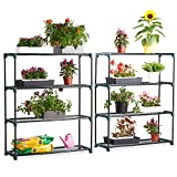 VonHaus 4 Tier Staging Shelving Unit for Garden / Greenhouse - 2 Pack - Shed & Garage Storage Racking