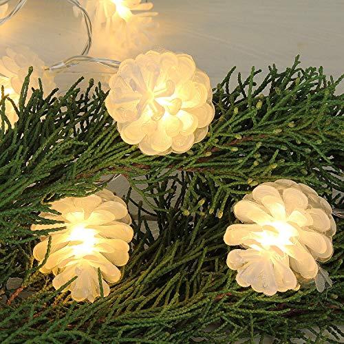 MACOSA CE63761 2er Set Tannenzapfen-Lichterkette LED Warmweiß mit 10 Zapfen pro Kette 130 cm Weihnachts-Beleuchtung Innen batteriebetrieb -