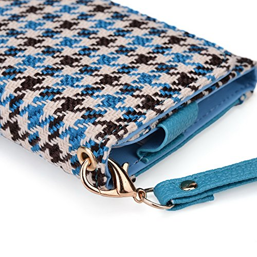 Kroo Housse de transport Dragonne Étui portefeuille pour Amazon Fire Phone violet Blue Houndstooth and Blue