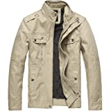 Wantdo Men's Lightweight Cotton Jacket Outdoor Windbreaker Coat Classic Full-Zip Jackets Stand Collar Jackets