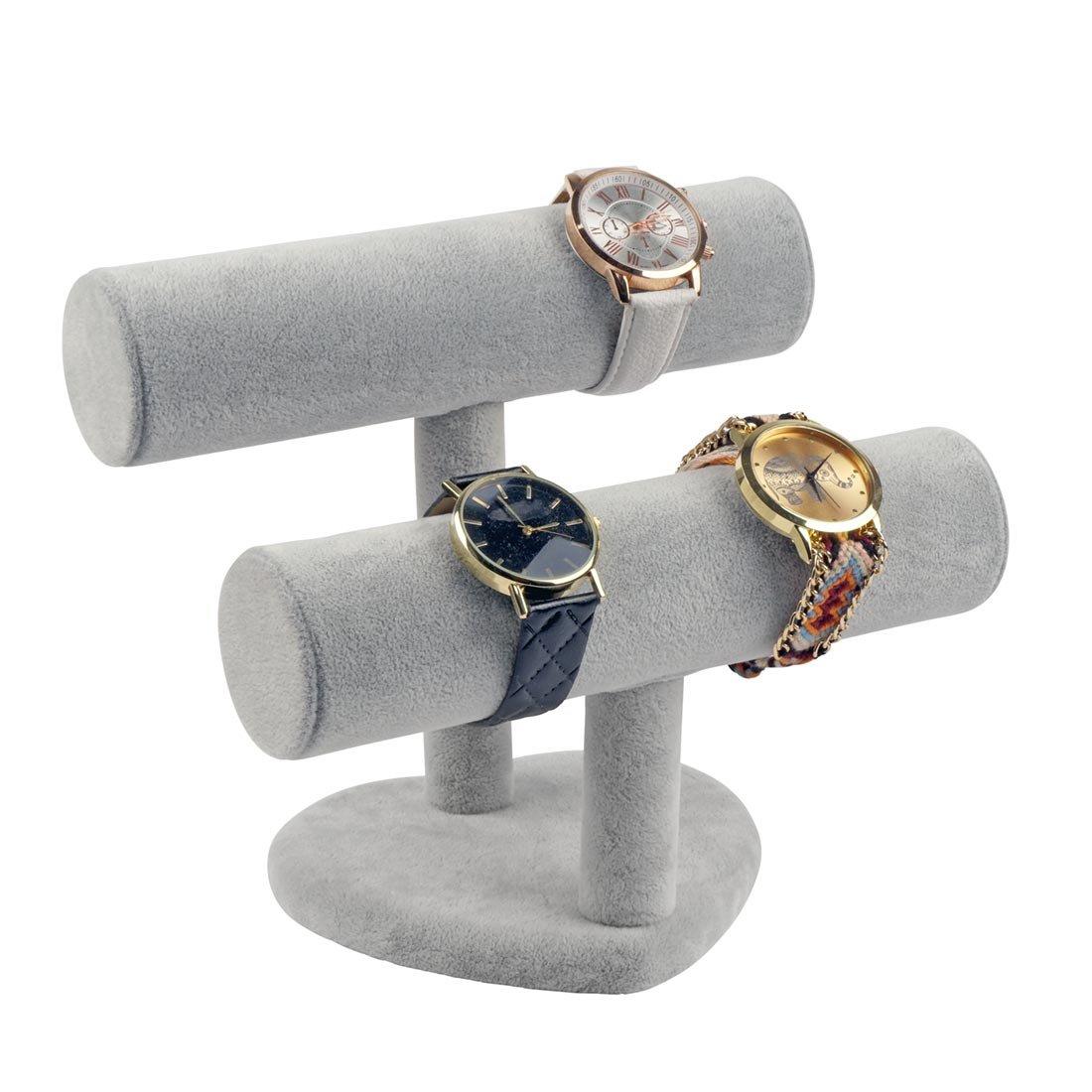 Schmuckständer für Uhren Armbänder Armreife Armbandständer Schmuckhalter Samtoptik 2 Rollen (Grau)