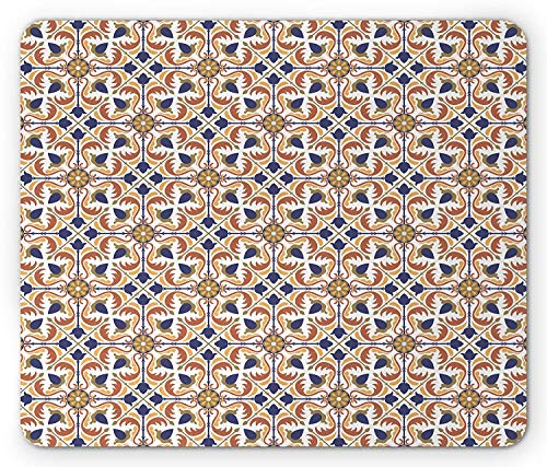SHAQ Moroccan Mouse Pad Mauspad, Traditional Mosaic Tile Motif with Old Fashioned Floral Arabesque Scroll Design, Standard Size Rectangle Non-Slip Rubber Mousepad, Multicolor -
