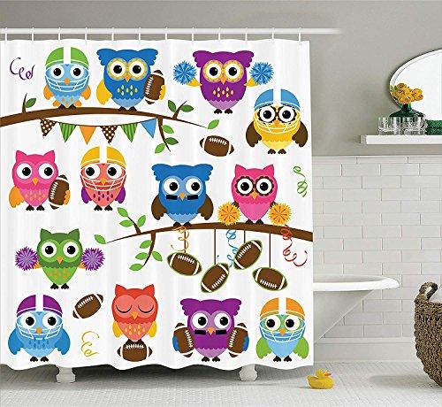 BUZRL Owls Shower Curtain, Sporty Owls Cheerleader League Team Coach Football Themed Animals Cartoon Art Style, Fabric Bathroom Decor Set with Hooks, 60 * 72inch Extra Long, Multicolor