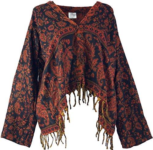 Guru-Shop Bolero Jacke, Legeres Boho Jäckchen, Damen, Schwarz, Synthetisch, Size:40, Boho Jacken, Westen Alternative Bekleidung