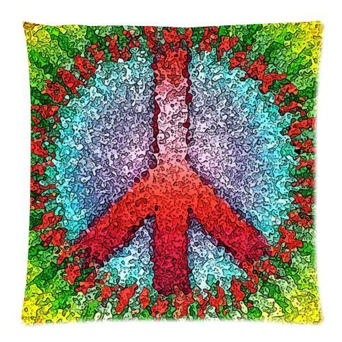 Warm Farbe Deko Colorful Abstract Peace Sign Kunst Werfen Kissenbezug Fall Kissenbezug Kissenhülle Kissen/Case Cover 45,7cm Zoll (Werfen Benutzerdefinierte Kissen Fall)