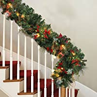 ZhongYe 9ft Christmas Garlands Illuminated LED Light Snowflake Pine Cone Bow Ornaments Decoration Xmas Festive Wreath Stairs Fireplaces (1Pack)