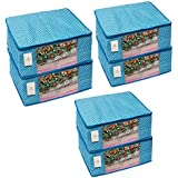 Homestrap Cotton Quilted Large Saree Cover - Blue (Set of 6)
