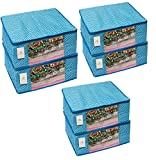#10: Homestrap Cotton Quilted Large Saree Cover - Blue (Set of 6)