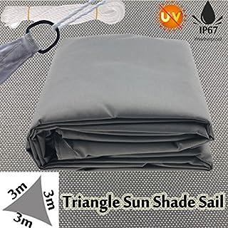 Autofather grau 3x 3x 3m Dreieck Sun Segel Garten Terrasse Markise Baldachin Polyester Stoff blockiert 98% UV-IP67Wasserfest Mit D-Ringen frei Seil Einfache Installation