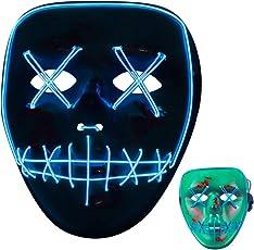 Daomenty Halloween Maske LED EL-Wire Maksen Horror Rave Cosplay Maske Party Festival Kaneval 3 Leuchten Modi