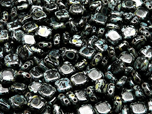 40pcs Tchèque Perles de verre Tuile à deux trous, Plat Carré 6x6x2.9mm Jet Travertine