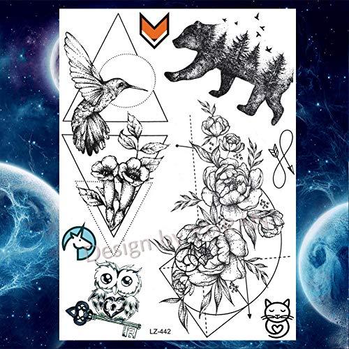 FCTGY Elefant wasserdichte Tätowierungen Aufkleber Henna Blume Frauen Tattoo temporäre Floral Tatoo, Glz442